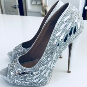 Silver Crystal Open Toe Heels